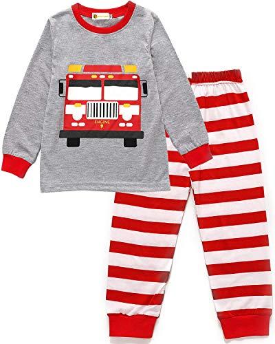 MOLYHUA Baby Jungen Schlafanzug Langarm Ärmel Pyjama Bagger Feuerwehr Schlafanzüge Kinder Nachtwäsche 92 98 104 110 116 122