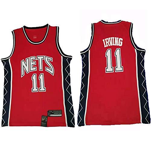 XIAOHAI Ropa de Baloncesto de la NBA de los Hombres, Brooklyn Nets # 11 Kyrie Irving clásico Jersey, Desgaste Transpirable Uniforme de Baloncesto Unisex,Rojo,L