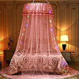 Redonda romántica decoración mosquitera de encaje princesa cortina cúpula cama baldaquino red para interior dormitorio niña albaricoque