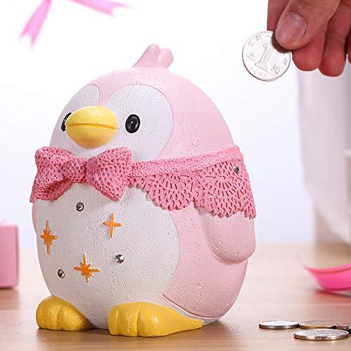 CDMA Banco De Dinero De La Historieta, Niña Pingüino Animal Gran Capacidad Alcancía, Adornos Anti-otoño para Enviar Tapete Antideslizante 0425C(Size:Puede retirar Dinero)