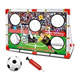 Fencelly Juego de portería de fútbol para niños de 100 x 51 x 81 cm, portátiles para niños, para practicar en el patio trasero, redes de fútbol...