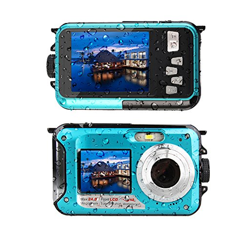 Waterproof Camera Underwater Camera Full HD 2.7K 48 MP Video Recorder Selfie Dual Screens 16X Digital Zoom Waterproof Digital Camera for Snorkeling