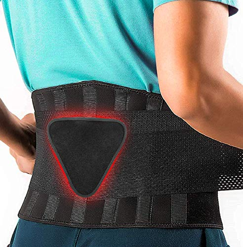 FEATOL Back Brace Support Belt-Lumbar Support Back Brace for Back Pain, Sciatica, Scoliosis, Herniated Disc Adjustable Support Straps-Lower Back Brace with Removable Lumbar Pad for Men & Women