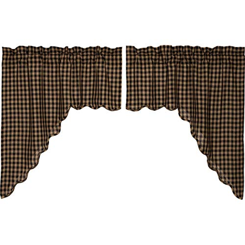 VHC Brands Black Check Scalloped Swag Set of 2 36x36x16 Country Curtains, Black and Tan
