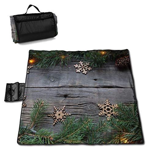Suo Long Branche de Nouvel an épinette avec décoration de Noël Couverture de Pique-Nique avec Tapis de Pique-Nique en Plein air pour Camping-Car Beach Park