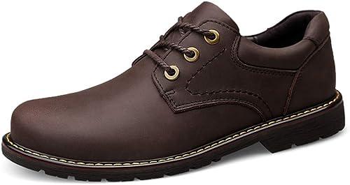 DINGGUANGHE-chaussures Cuir Verni Chaussures de Travail pour Hommes Oxford Décontracté Fashion Confortables Simples et polyvalentes à Bout Rond Chaussures habillées (Couleur   Marron, Taille   43 EU)
