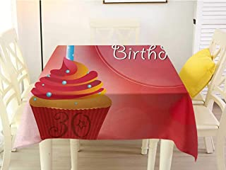 L'sWOW Square Tablecloth Seats 30th Birthday Cute Cupcake with Candlestick Stars Bokeh Backdrop Romantic Design Red Orange and Blue Resistant 54 x 54 Inch