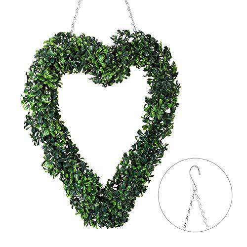 Relaxdays Buchskranz Herz, künstlich, Fenster Deko, zum Aufhängen, Türkranz ganzjährig, Kunststoff, HxB 41 x 37 cm, grün