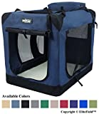 EliteField 3-Door Folding Soft Dog Crate, Indoor & Outdoor Pet Home, Multiple Sizes and Colors Available (36' L x 24' W x 28' H, Navy Blue)