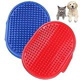 YUESEN Cepillo Baño Mascotas Perros Cepillo Herramienta de Aseo de Mascotas Mejora Circulación Peine De Goma Mango De Anillo Ajustable para Perros y Gatos Azul