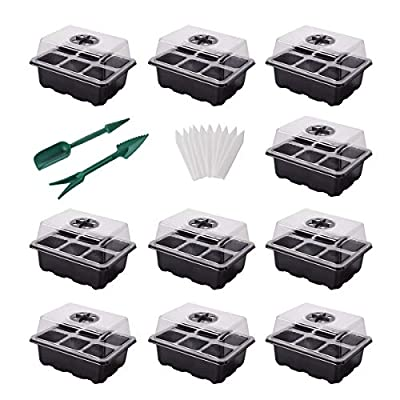 YSBER 10-Pack Seed Starter Tray Kit 60 Cells Hu...