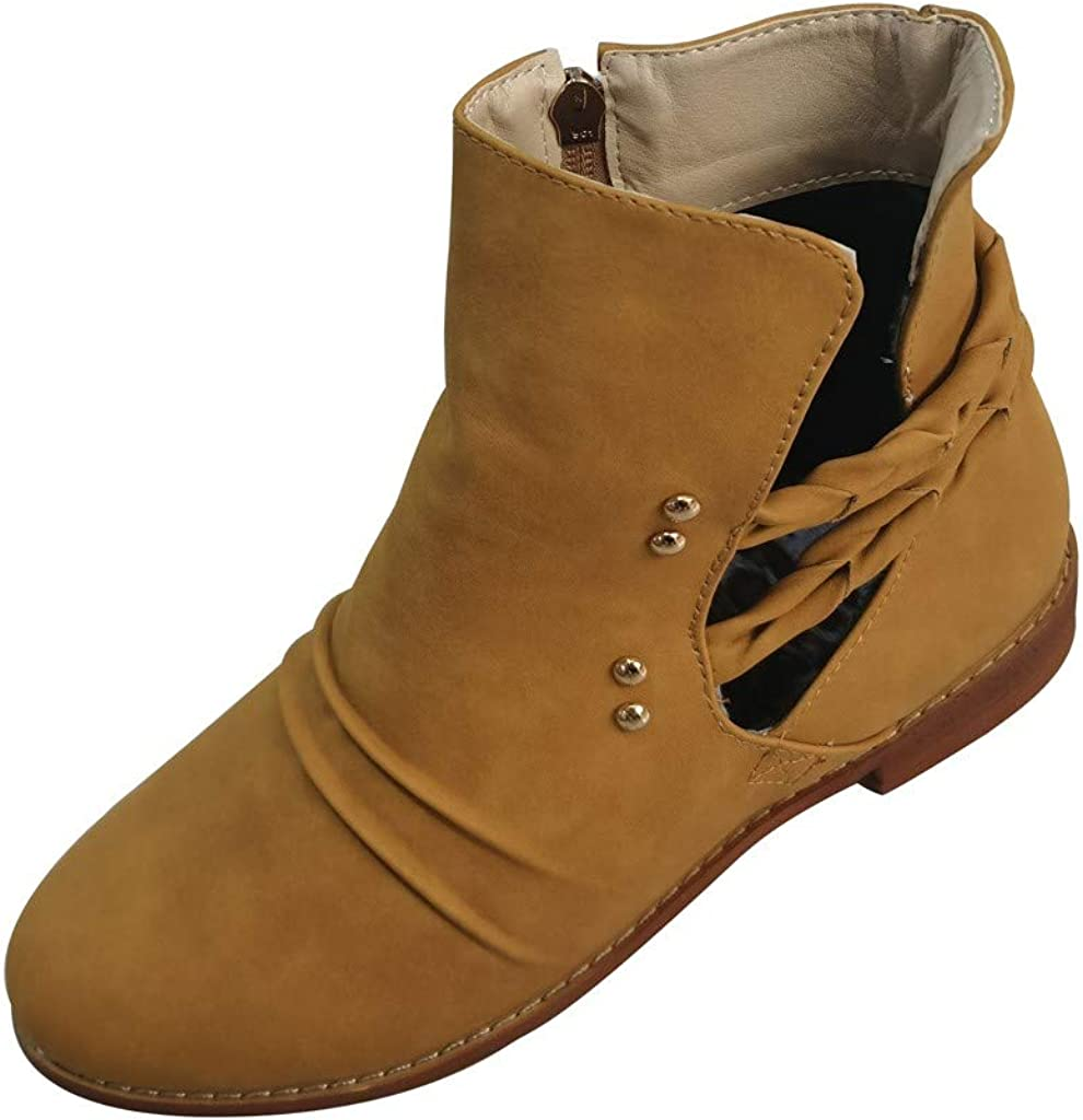 Western Cowboy Booties - RQWIEN Women's Chelsea Pump Ankle Boots Stacked Chunky Heel Pointed Toe Stylish Ankle Boots
