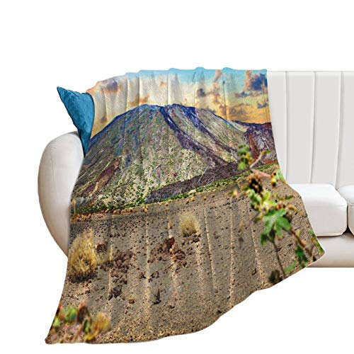 Throw Blanket for Bed Flannel Blankets Teide Volcano Tenerife Canary Islands Lightweight Ultra Soft for All Season Farmhouse Decorative Blanket for Couch Sofa Travel Birthday Gift 70x80 Inch