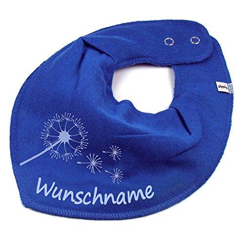 Elefantasie Elefantasie HALSTUCH PUSTEBLUME mit Namen oder Text personalisiert mittelblau für Baby oder Kind