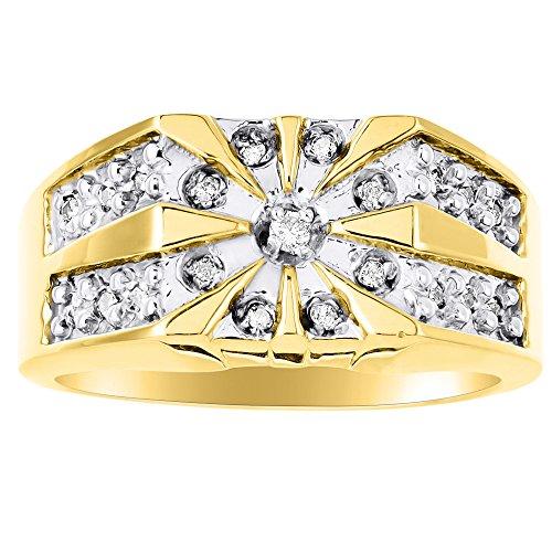 RYLOS Mens Rings 14K Yellow Gold - Mens Diamond Starburst Ring Rings For Men Mens Jewelry Gold Rings