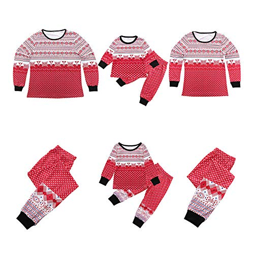 Meijunter Schneeflocke Drucken Familie Matching Weihnachten Nachtwäsche - Lange Ärmel und Hose Weihnachten Homewear Pyjama Set