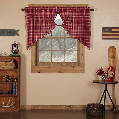 VHC Brands Americana Rustic & Lodge Kitchen Window Curtains - Braxton Red Scalloped Prairie Swag Pair, 36x36x18
