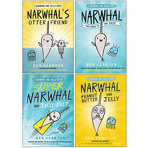 Narwhal and Jelly Series 4 Books Collection Set By Ben Clanton (Narwhal's Otter Friend, Narwhal Unicorn of the Sea, Super Narwhal and Jelly Jolt, Peanut Butter and Jelly)