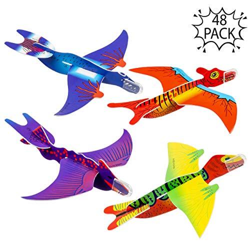 THE TWIDDLERS 48 Dinosaurier Flugzeuge Gleitflugzeuge – ideales Innenspielzeug für Kinder - für stundenlanges Spiel und Unterhaltung - Kinder Partygeschenke