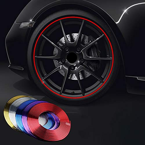 (Rojo) PVC hecho de rueda de coche Trim Ring Shell Ring para llantas de 13-22 pulgadas