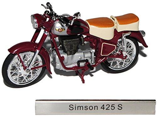 alles-meine.de GmbH Simson AWO 425 S Rot Braun DDR Atlas Collection 1/24 Modellcarsonline Modell Motorrad mit individiuellem Wunschkennzeichen
