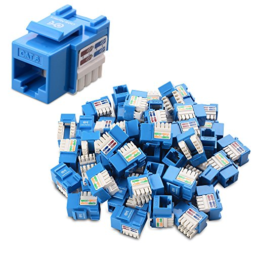 Cable Matters UL Listed 50-Pack RJ45 Keystone Jack in Blue and Keystone Punch-Down Stand