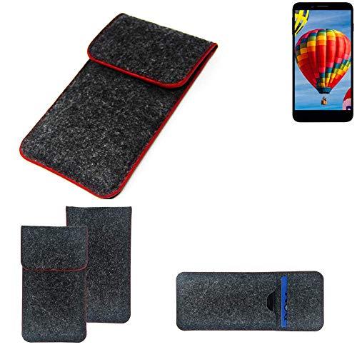 K-S-Trade Handy Schutz Hülle Für Vestel V3 5030 Schutzhülle Handyhülle Filztasche Pouch Tasche Hülle Sleeve Filzhülle Dunkelgrau Roter Rand