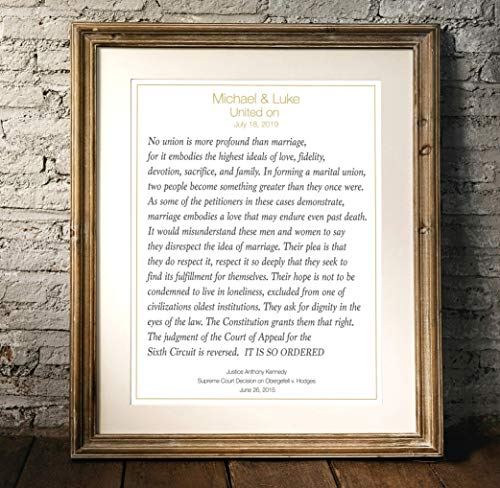 Gay Pride, LGBT Gay Wedding Gift, Gay Personalized Wall Art, Justice Kennedy Marriage Equality Quote -