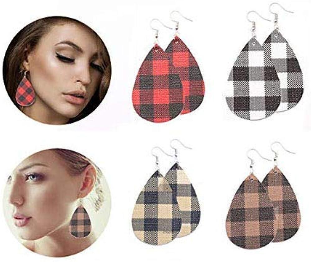 Leather Earrings for Women Lightweight Faux Leather Leopard Earrings Teardrop Leaf Dangle Earrings for Women 16 Pairs