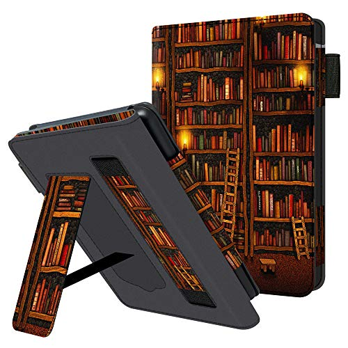 Huasiru Handheld Case for All Kindle Paperwhite Generations - PU Leather Protective Cover with Hand Strap, Library