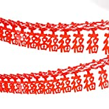 Alphatool 4 Pack Chinese New Year Fu Chinese Spring Festival Home Decor Hanging Garland- Good Luck Red Hanging Garland for Chinese New Year Party Living Room Bedroom Restaurant Decorations