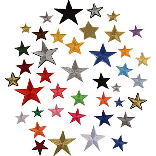Meetlight Parches para planchar con diseño de estrellas bordados, parches para coser en parches para bolsas...