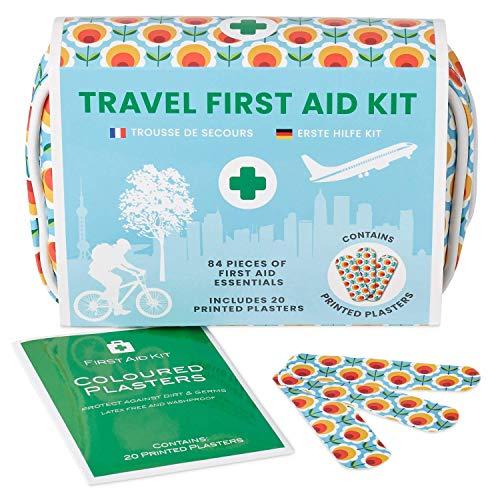 Yellodoor Kit De Primeros Auxilios para Viajes Mini-Viaje. Incluye Tijeras, Gel de Quemaduras, Yeso Impermeable, Guantes Médicos, Toallitas Antisépticas y Cinta Quirúrgica. para el Hogar 100% Vegano