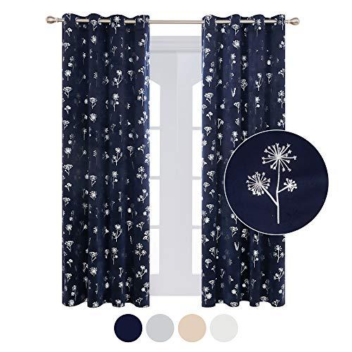 Deconovo Cortinas para Habitación Súper Suave Aislantes Térmicas Salon Dormitorio Modernas Gruesas con Ojales Plateados 140 x 290 cm Azul Oscuro