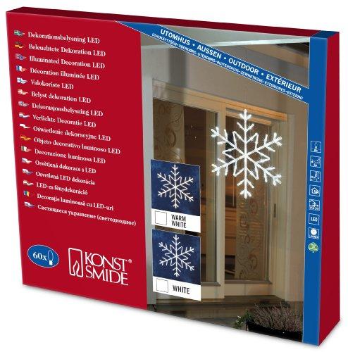 Konstsmide 4460-203 Flocons Acryliques 60 LED Blanc + Câble Transparent 24 V