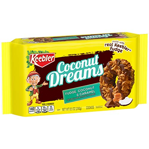 Keebler Coconut Dreams Cookies, Caramel and Coconut, 8.5 Ounce Tray, Pack of 4