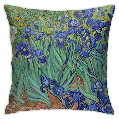 Lsjuee Fundas de Almohada Decorativas, Fundas de Almohada, Flores Azules, Lirios Florales Vintage, 18 x 18 Pulgadas