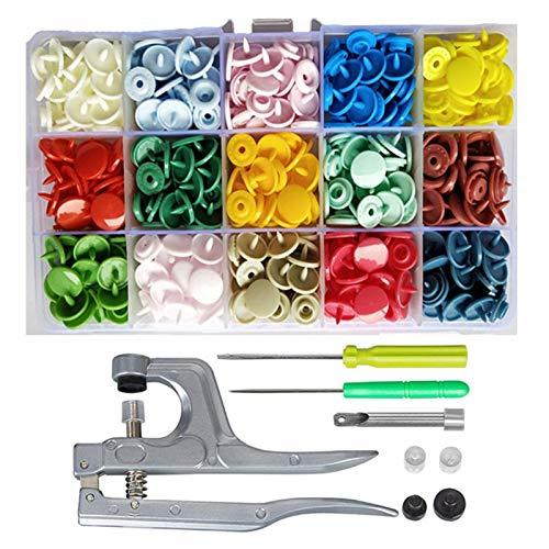 Materiales de costura 360 sets T5 Plastic Snap Botón de plástico con kit de herramientas de alicates SNAPS y contenedores de organizador, fácil sustitución de chants, Familia de bricolaje Sastre ojale