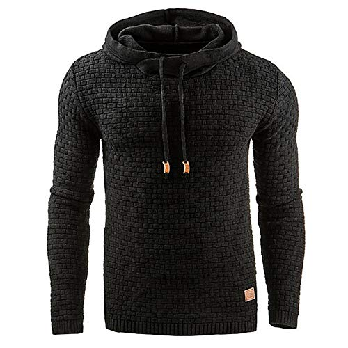 Zaitun Mens Hooded Sweatshirt Long Sleeve Solid Knitted Hoodie Pullover Sweater (Black, L)