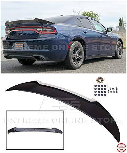 Replacement for 2015-Present Dodge Charger   SRT8 Hellcat Extended Style ABS Plastic Primer Black Rear Trunk Lip Wing with Wickerbill Spoiler