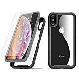ATOOZ Case for iPhone Xs/iPhone X, 360 Degree Full Body Heavy Duty Protective Shockproof Anti-Scratch Case Cover with Tempered Glass Screen Protector for iPhone Xs/X 5.8 Inch (Gray)