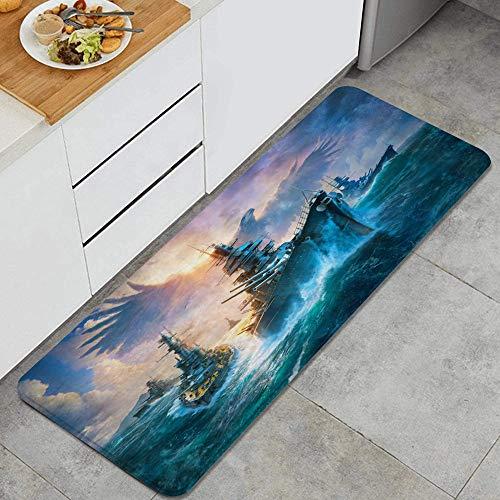 JUHAN Marine Battleship Creative Skyhawk Dangerous Boat Anti Fatigue Kitchen Mat Comfort Floor Mats Non-Slip Oil Stain Resistant Easy to Clean Kitchen Rug