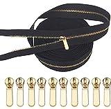 Cremallera de metal VOC # 3 negra larga cremallera con 10 piezas doradas (5 yards)