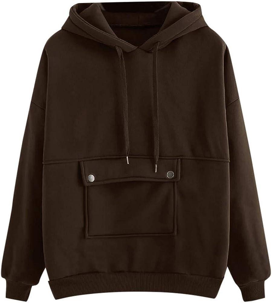 Girls' Hoodie, Misaky Pullover Sweatshirt for Teen Girls Solid Color Pocket Long Sleeve Hooded Blouse