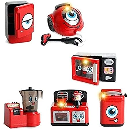 Jack Royal Pretend Play Mini Home Appliances with Sound & Lights (Refrigerator, Mini Stove, Vacuum Cleaner, Juicer, Microwave Oven, Washing Machine)