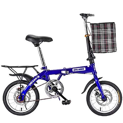 Bicicleta Plegable Unisex Adulto, Bicicleta Plegable Urbana Portátil 14/16/20 Pulgadas Frenos De Disco Mecánicos Delanteros Y Traseros Boy Adultos Y Chica De La Bicicleta B,14 Inches