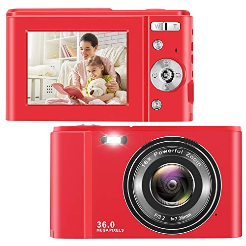 IEBRT Ultra HD Digital Camera,1080P Mini Kid Vlogging Camera Video Camera LCD Screen 16X Digital Zoom 36MP Rechargeable Point and Shoot Camera for Compact Portable Kids Teens Gift (2.4 inch red)