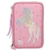 Astuccio con 3 cerniere. Design: Miss Melody Riempito con molti accessori. Con un cavallo in paillettes sulla parte anteriore. Dimensioni: circa 7,5 x 13 x 20 cm.