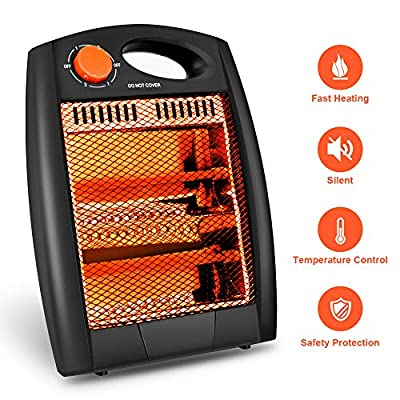 Portable Radiant Heater - Portable Space Heater Quartz Infrared Heater 700W Adjustable Heater Energy Efficient Space Heater Instant Heater Overheat & Tip-Over Protection