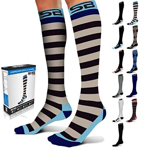 SB SOX Lite Compression Socks (15-20mmHg) for Men & Women - BEST Stockings for Running, Medical, Athletic, Edema, Diabetic, Varicose Veins, Travel, Pregnancy (Stripes - Gray/Blue, S/M)